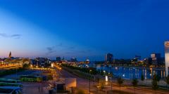 Kiel | Gablenzbrücke Blue Hour Stock Footage