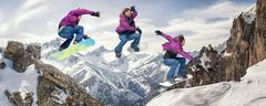 Snowboarding jump sequence - stock photo