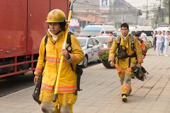 firefighter in mock disaster drill - stock photo