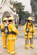 Firefighter in mock disaster drill Stock Photos