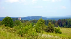 Beautiful landscape. The forest, the sky, the Greenery, the old Church - stock footage
