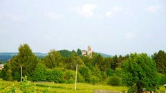 Beautiful landscape. The forest, the sky, the Greenery, the old Church  Stock Footage
