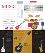 Musical instruments graphic template. All types of musical instruments infogr Stock Illustration