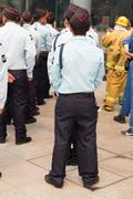 Security guard in mock disaster drill Stock Photos