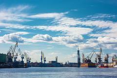 Industrial panorama with cranes and docks. Neva River, St.Petersburg, Russia - stock photo