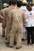Paramedic in mock disaster drill Stock Photos