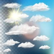 Set of transparent clouds with sun. EPS 10 - stock illustration