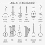 Musical instruments graphic template. Strings plucked - stock illustration