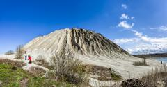 Large mining Spoil tip hill  in Rummu quarry, Estonia Stock Photos