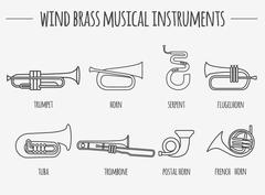 Musical instruments graphic template. Wind brass. - stock illustration