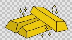 gold bar Sketch illustration hand drawn animation transparent - stock footage