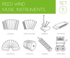 Musical instruments graphic template. Reed wind. Stock Illustration