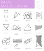 Musical instruments graphic template. Drums. - stock illustration