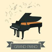 Musical instruments graphic template. Grand piano Piirros