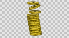 gold coins falling Sketch illustration hand drawn animation transparent - stock footage