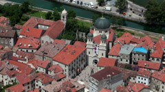 Old town of Kotor borders with modern building of city. Montenegro Stock Footage