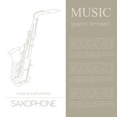 Musical instruments graphic template. Saxophone Stock Illustration