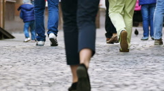 Slow motion. European city in summer day  . Feet of people.   Stock Footage