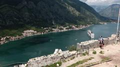 Top view at the Bay of Kotor (Boka Kotorska) from St. John castle Stock Footage