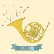 Musical instruments graphic template. French horn. Stock Illustration