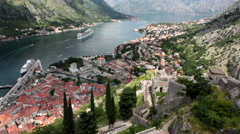 Gulf of Kotor (Boka Kotorska) with stairs of fortifications of St. John castle Stock Footage