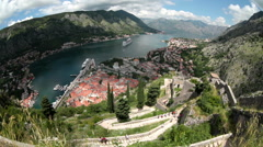Wide angle view of the Bay of Kotor (Boka Kotorska) from St. John castle. Kotor Stock Footage
