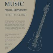 Musical instruments graphic template. Electric guitar Stock Illustration