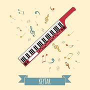 Musical instruments graphic template. Keytar. - stock illustration