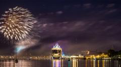 Kiel | Cruiser Baptism & Fireworks Stock Footage
