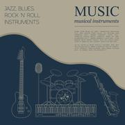 Musical instruments graphic template.Jazz, blues, rock`n`roll band. - stock illustration