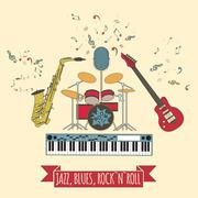 Musical instruments graphic template.Jazz, blues, rock`n`roll band. Piirros