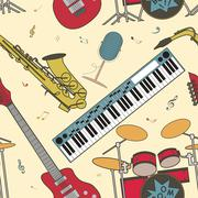 Musical instruments seamless pattern - stock illustration