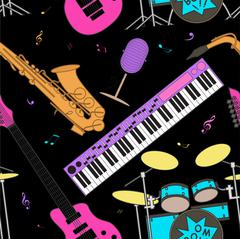 Musical instruments seamless pattern Stock Illustration