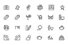 Hotel and Restaurant Line Icons Pack - stock illustration