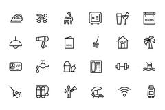Hotel and Restaurant Line Icons Set Stock Illustration