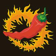 Pepper with flame Stock Illustration