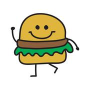 Funny burger doodle style vector illustration colour Piirros
