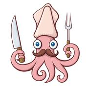 Squid chef cartoon Stock Illustration