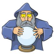 Wizard with magic ball Stock Illustration