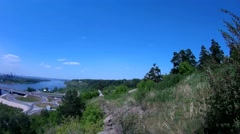 Panoramic view to the bridge Kuznetskiy over the Tom river from a cliff Stock Footage