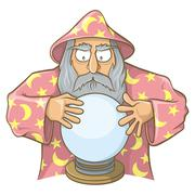 Wizard in pink cape with magic ball Stock Illustration