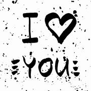 I Love You lettering. Romantic quote white and black with paint spots - stock illustration