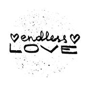 Endless love lettering. Love quote black on white vector - stock illustration
