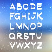 Vector alphabet on blurred background. ABC vector - stock illustration