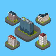 Isometric Building Set Isolated - stock illustration