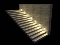 Modern staircase with backlit steps. Soft night lighting. 3d illustration - stock illustration