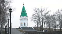 Symbol of the city of Krasnoyarsk in overcast weather Stock Footage