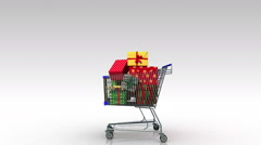 Moving cart,dropping gift box, shopping bag. Stock Footage