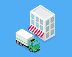 Isometric Building and Lorry Car Design Stock Illustration