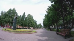 At the Vesennyaya street. View to the monument to astronaut Aleksei Leonov Stock Footage